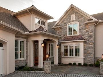 Stone custom home exterior