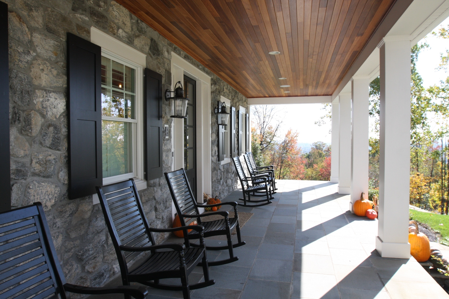 Front porch with wooden ceiling