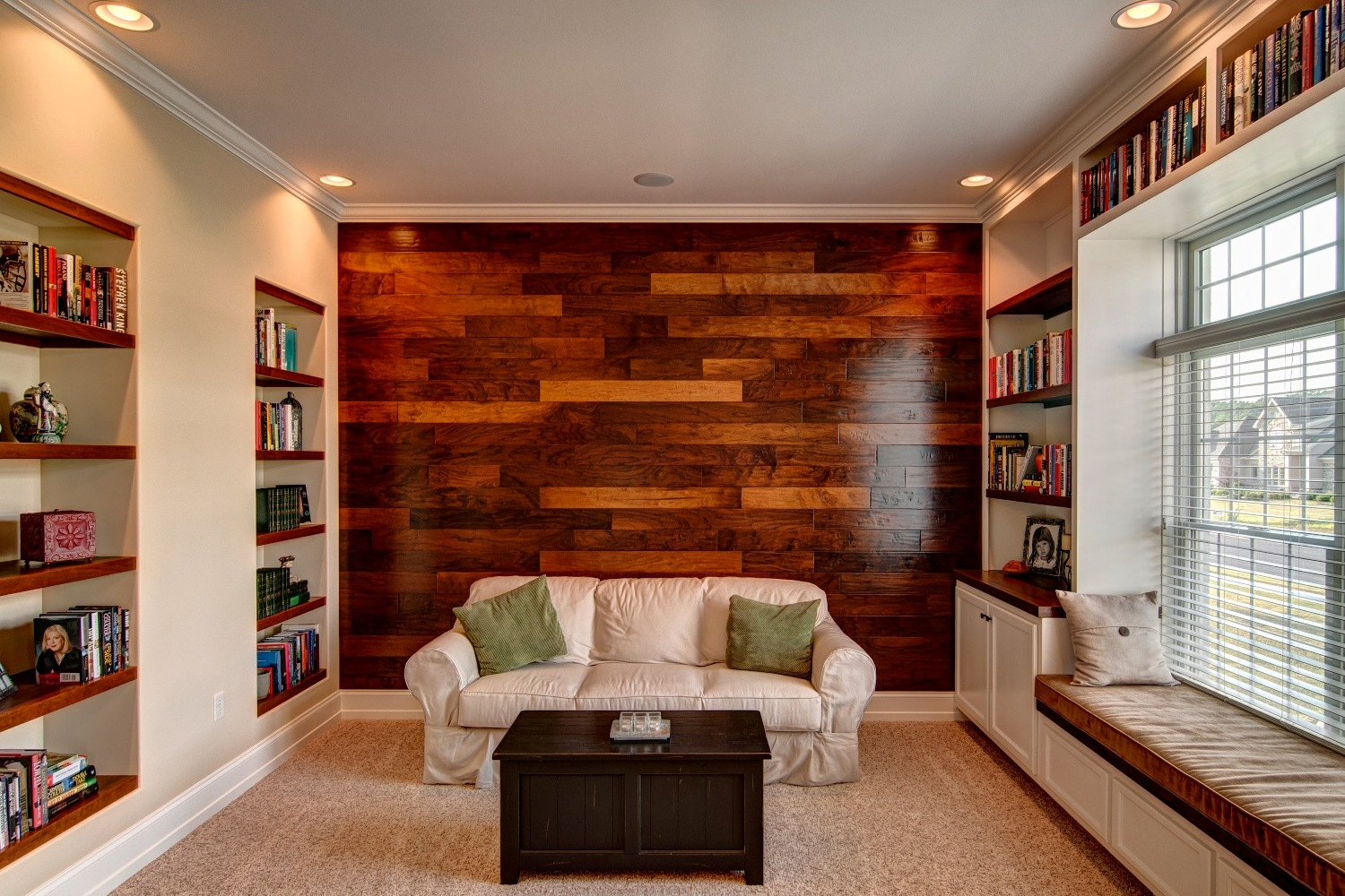 Library with wooden wall