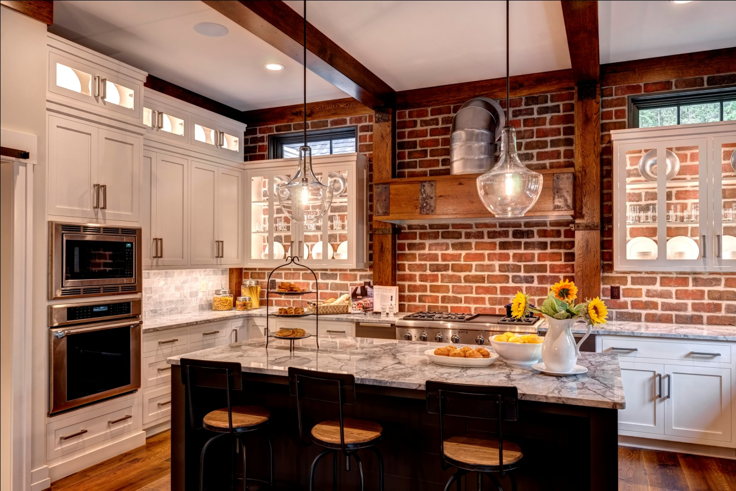 brick wall backsplash kitchen