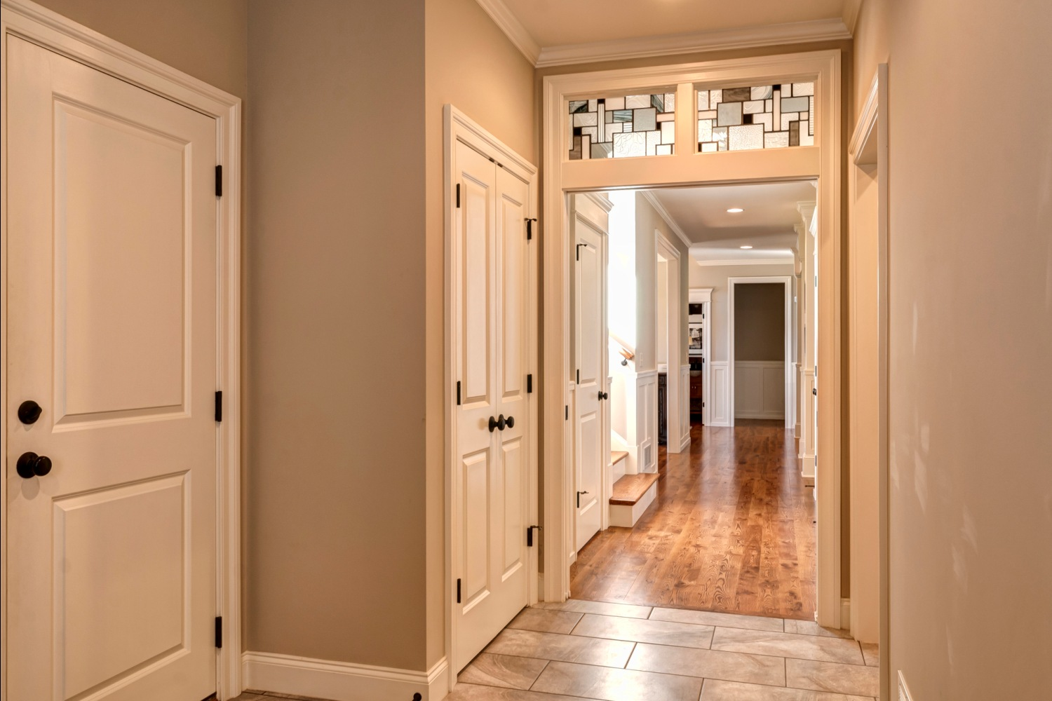 hallway with transom on pocket door